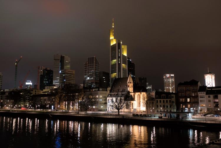 Verdunkelte Frankfurter Skyline