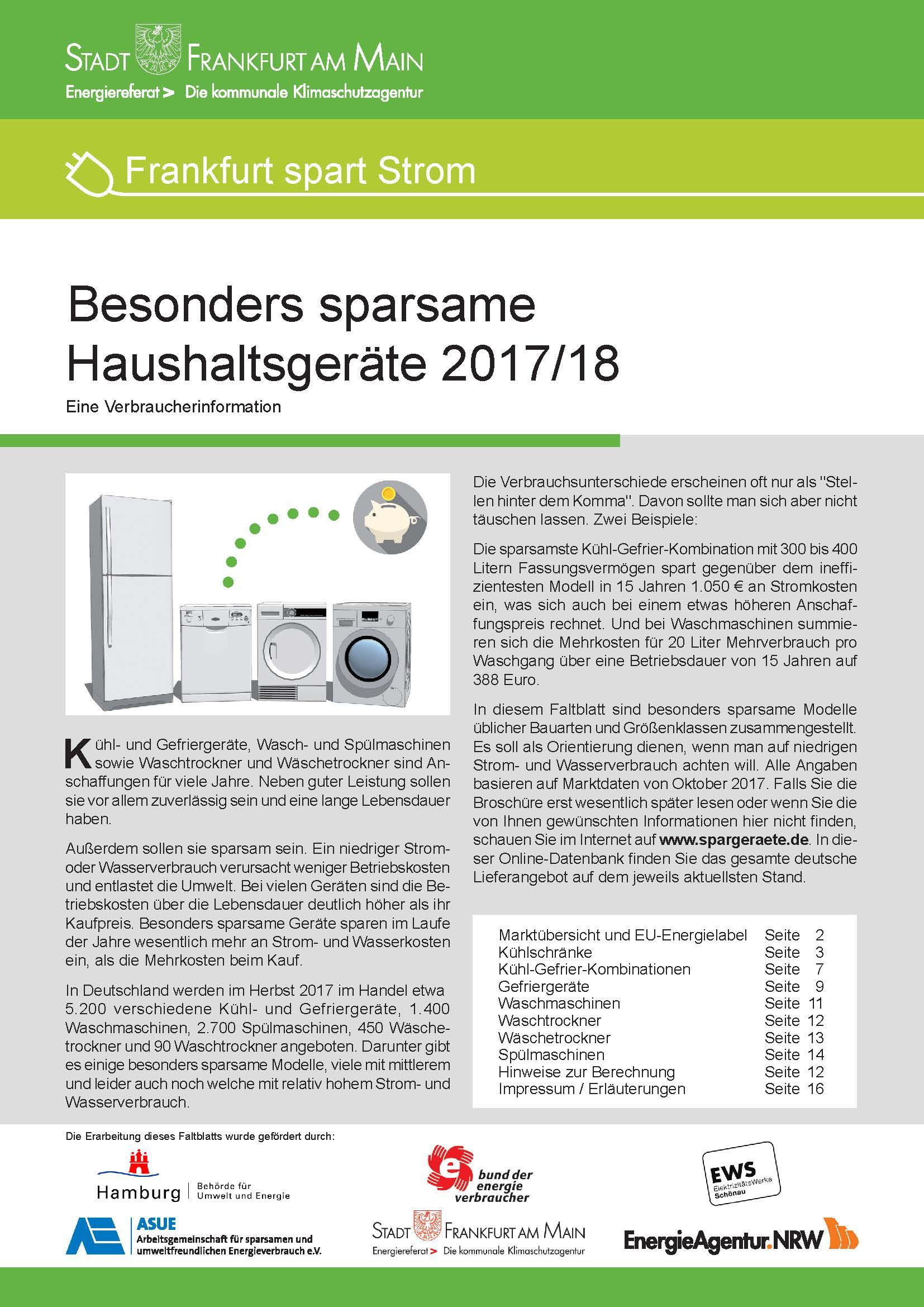 Broschüre Besonders sparsame Haushaltsgeräte 201-18